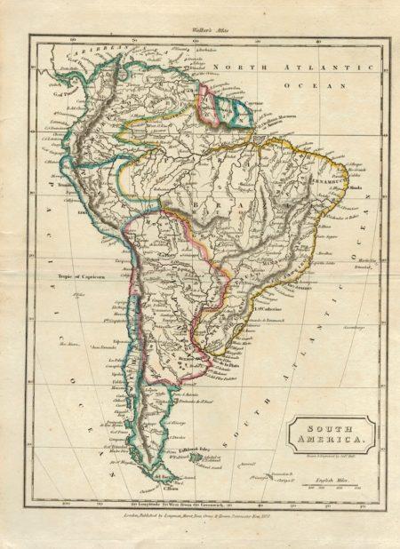 Rare Antique Map, South America, 1823