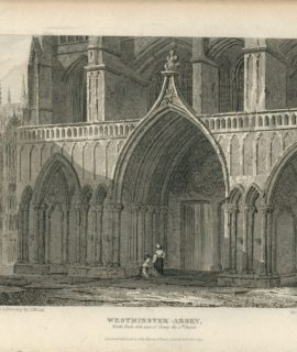 Antique Engraving Print, Westminster Abbey, 1815
