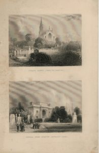 Antique Engraving Print, Hihgate Church & Kensall Green Cemetery, 1830 ca.