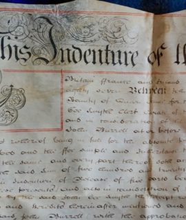Antique Vellum Manuscript Indentures city of Colchester, 1787-1877