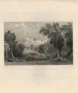 Antique Engraving Print, Warkworth, Caste, Northumberland, 1837