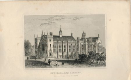 Antique Engraving Print, New Hall and Library, London, 1840