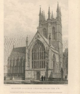 Antique Engraving Print, Merton College, 1833