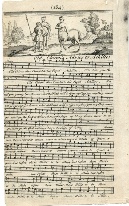 Antique Music Score, Flute, Old Chiron's Advice to Achilles, 1739