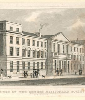 "Antique Engraving Steel Print, ""College of the Church Missionary Society"", 1827, Shepherd"