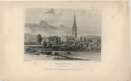 Antique Engraving Print, Salisbury, Wiltshire, 1840 ca.