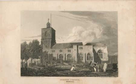 Antique Engraving Print, Stepney Church, Middlesex, 1815