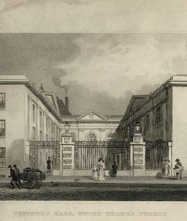 Antique Engraving Print, Vintner's Hall, Upper Thames Street, London, 1832