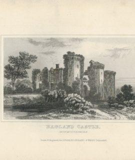 Antique Engraving Print, Ragland Castle, Monmouthshire, 1845