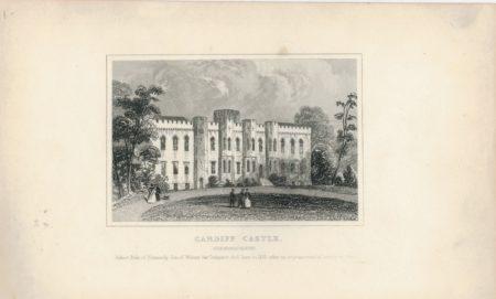 Antique Engraving Print, Cardiff Castle, 1840 ca.