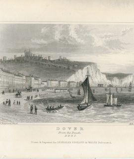 Antique Engraving Print, Dover from the Beach, Kent, 1830 ca.