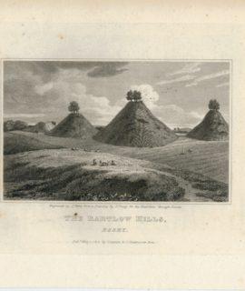 Rare Antique Engraving Print, The Bartlow Hills, Essex, 1819