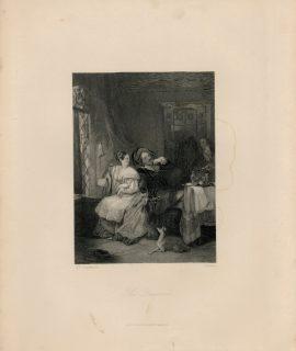 Antique Engraving Print, The Quarrel, 1849