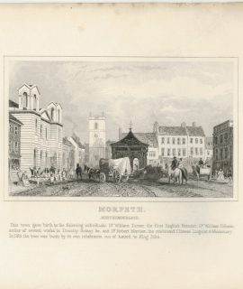 Antique Engraving Print, Morpeth, Northumberland, 1840 ca.