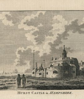 Rare Antique Engraving Print, Hurst Castle in Hampshire, 1782