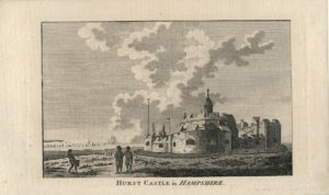 Rare Antique Engraving Print, Hurst Castle in Hampshire, 1782