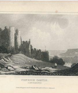 Antique Engraving Print, Penrice Castle, Glamorganshire, 1845