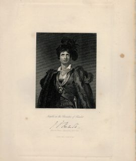 Antique Engraving Print, Kemble in the character of Hamlet, 1844