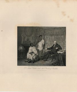 Rare Antique Engraving Print, D.r Adam Clarke and the Priests of Buddha, 1844