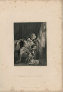 Antique Engraving Print, Francis the First and his Sister, 1836