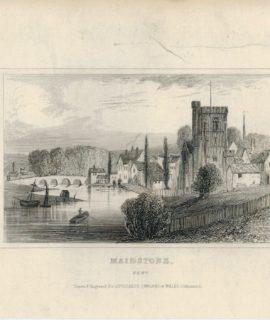 Antique Engraving Print, Maidstone, Dugdales,