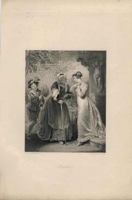 Antique Engraving Print, Bertha, 1836