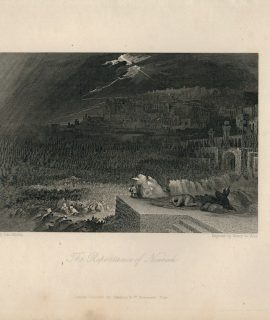 Antique Engraving Print, The Repentance of Nineveh, 1840
