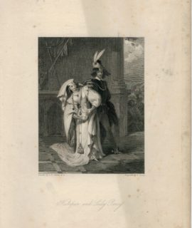 Antique Engraving Print, Hotspur and Lady Percy, 1832
