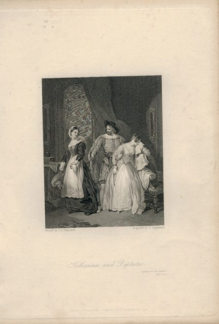 Antique Engraving Print, Katharina and Baptista, 1836