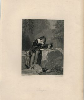 Rare Antique Engraving Print, Imogen, 1836