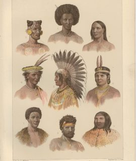 Antique Three Prints, Ethnology Races of Man, 1890