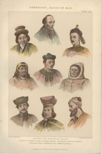 Antique Print, Ethnology Races of Man, 1890
