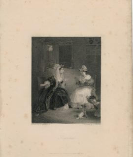 Rare Antique Engraving Print, Scandal, 1830 ca.