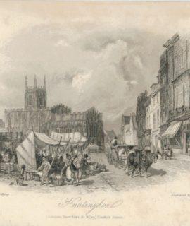 Antique Engraving Print, Huntingdon, 1830 ca.