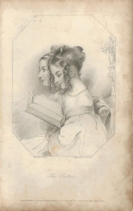 Rare Antique Engraving Print, The Sisters, 1820 ca.