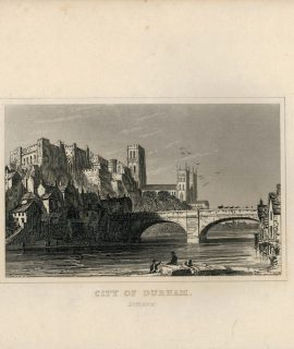 Antique Engraving Print, City of Durham, 1820 ca.