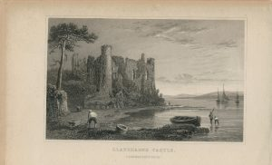 Antique Engraving Print, Llaugharne Castle, Caermarthenshire