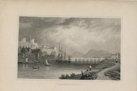 Antique Engraving Print, Caermarthen, 1831