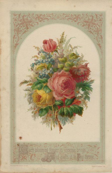Rare Vintage Print, Each blooming flower its incense brings... 1873