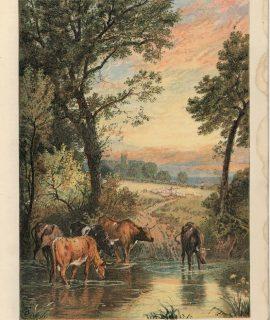 Vintage Print, Summer Evening, 1873