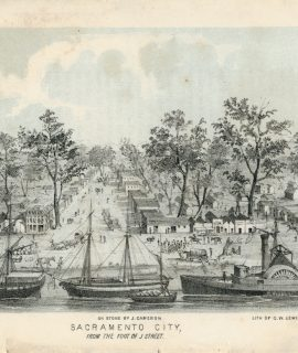 Antique Engraving Print, Sacramento City, 1849 ca.