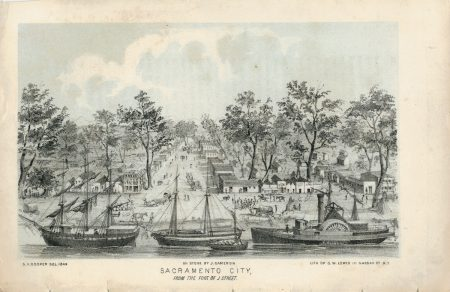 Antique Engraving Print, Sacramento City, 1849 ca.