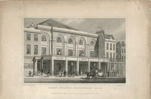 Antique Engraving Print, Surry Theatre, Blackfriars Road, 1828