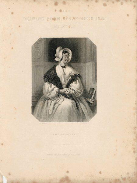 Antique Engraving Print, The Devotee, 1837