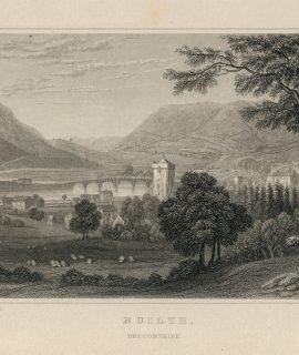 Antique Engraving Print, Builth, Breconshire. 1831