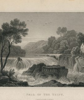 Antique Engraving Print, Fall of the Teify, Cardiganshire, 1831