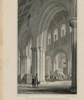 Antique Engraving Print, The Nave of St. David's Cathedral, 1831