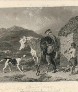 Antique Engraving Print, The Tod Hunter, 1860