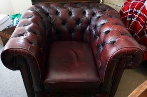 Vintage Handmade Red Leather Chesterfield Armchair