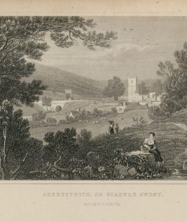 Antique Engraving Print, Aberystwith, or Blaenau Gwent, 1831